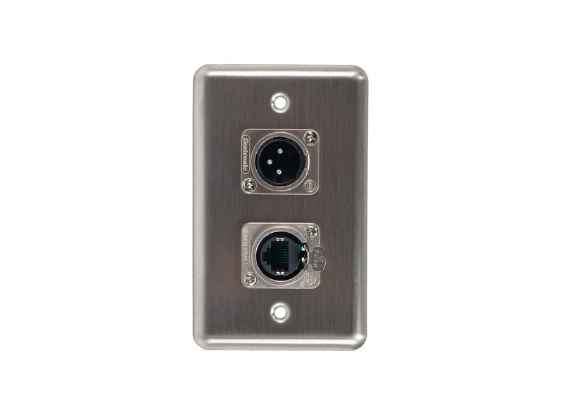 OSP D-2-1E1XM Duplex Wall Plate w/ 1 Tactical Ethernet and 1 XLR Male