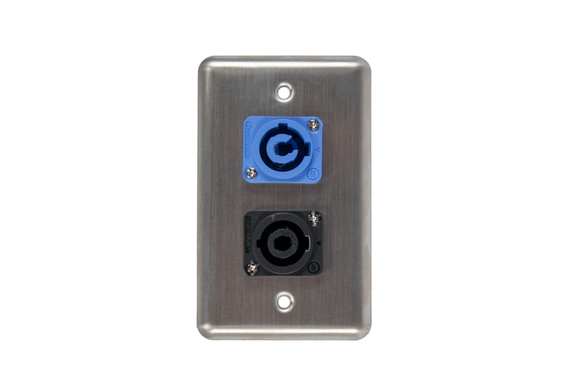 OSP D-2-1PCA1SP Duplex Wall Plate w/ 1 Powercon A and 1 Speakon
