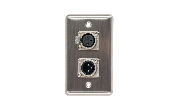 OSP D-2-1XM1XF Duplex Wall Plate w/ 1 XLR Male and 1 XLR Female