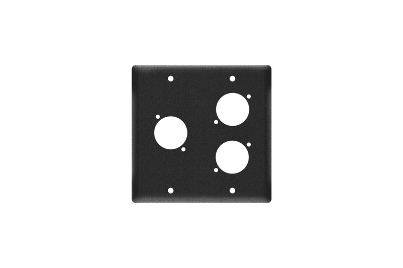 Elite Core EC-2G-3D Black Double Gang Wall Plate with 3 D-Series Punch Outs