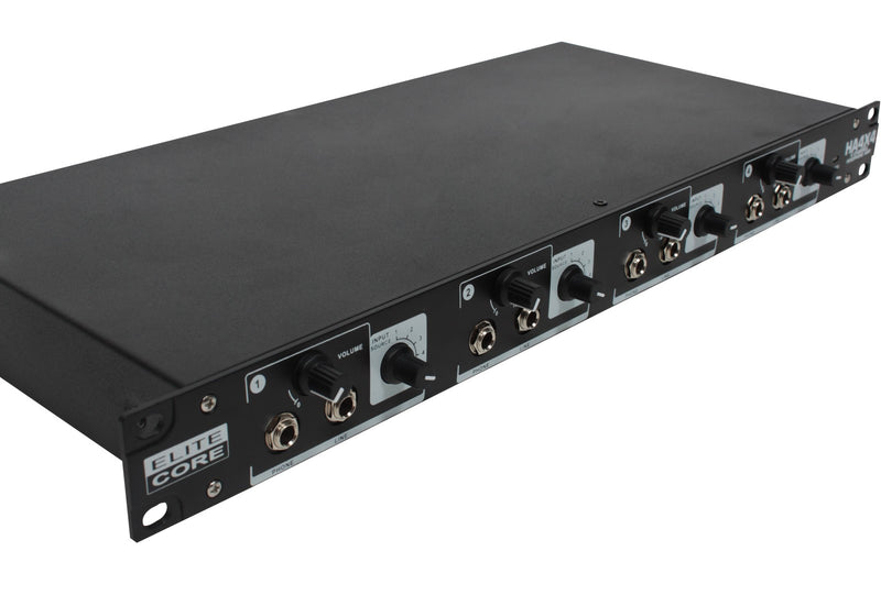 Elite Core HA4X4 Deluxe Rack Pack Four User System With Remote Volume Controls