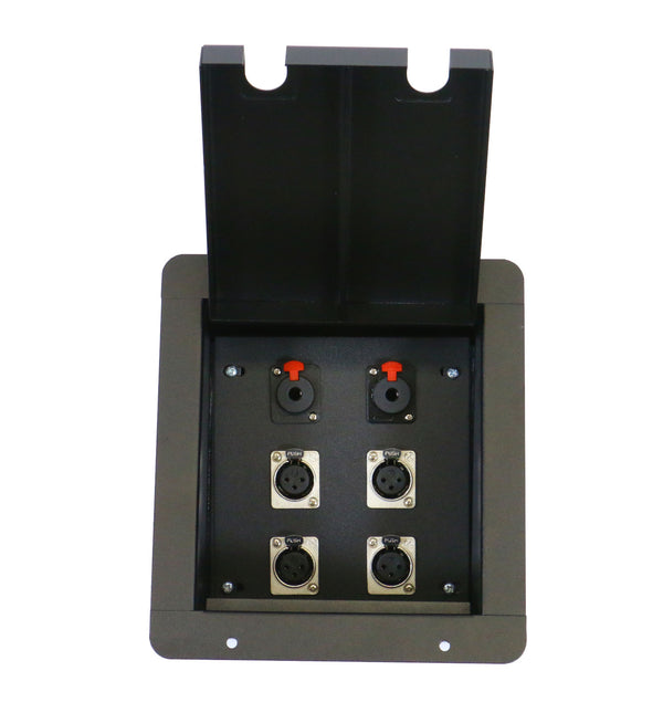 "Elite Core FB4-QTR Recessed Floor Box With 4 XLRF + 2 Locking 1/4"" Female Connectors"