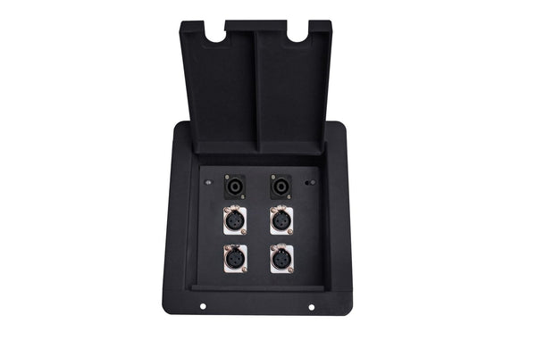 Elite Core FB4-SP Recessed Floor Box With 4 XLRF + 2 Speakon