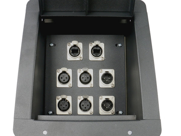 Elite Core FB8-4XF2XM2E Recessed Floor Box loaded with 4 XLR Female, 2 XLR Male, and 2 Tactical Ethernet Jacks