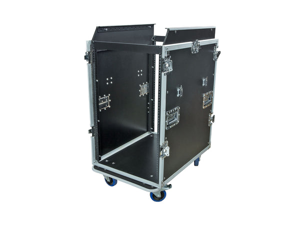OSP MC14U-16SL 16 Space ATA Mixer/Amp Rack for High-Back Mixing Consoles, 14-Space Rack Depth with Attached Standing Lid Table