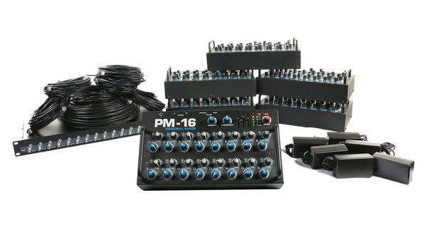 Elite Core PM-16-CORE-6 Complete Personal Mixer 6 Pack With 6 PM-16, 1 IM-16, 6 Power Supplies, and Cabling