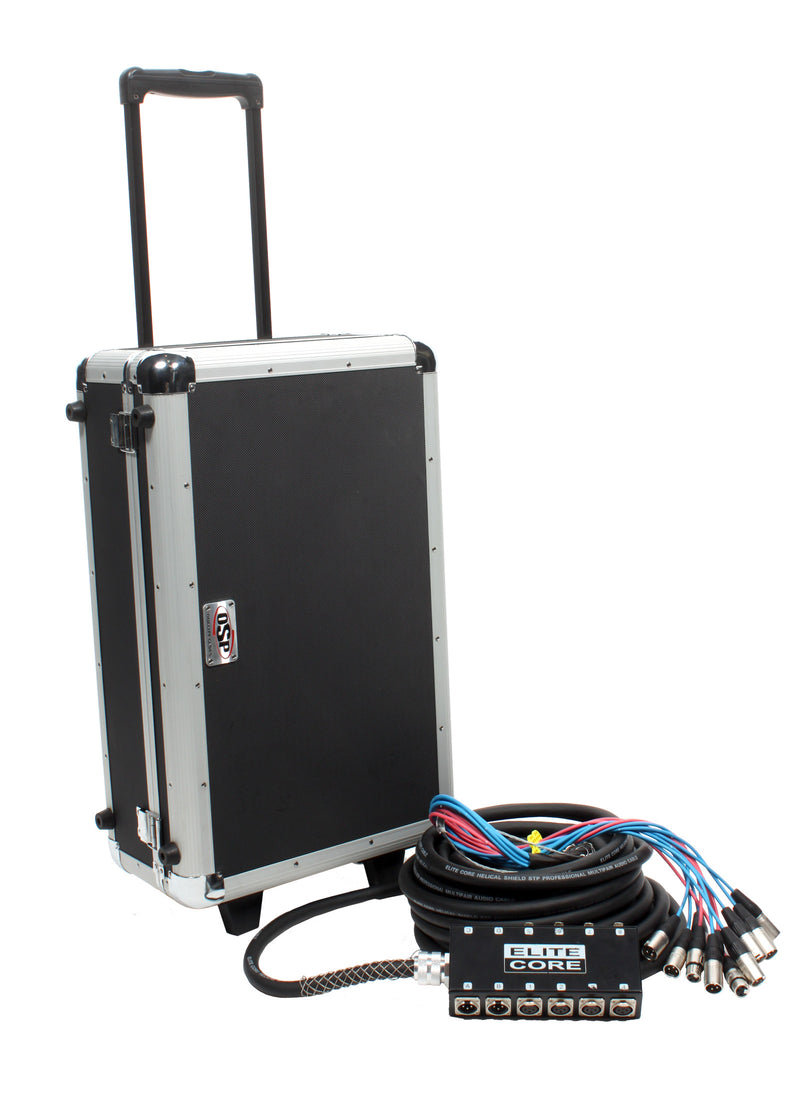 Elite Core 8 Channel 4 Return 50' Pro Audio Stage Snake Cable with OSP Carry Case