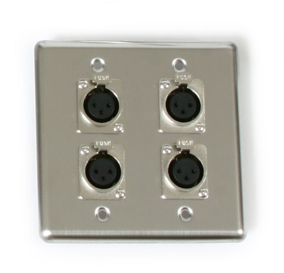 OSP Q-4-XLR Double Gang Quad Wall Plate with 4 XLR