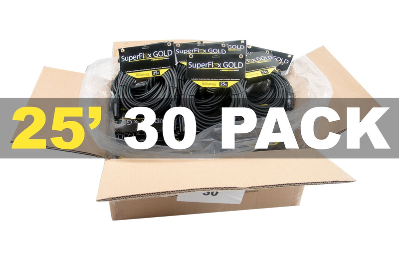 MASTER CASE of (30) SuperFlex GOLD SFM-25 Premium Microphone Cables 25'