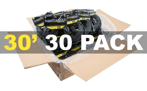 MASTER CASE of (30) SuperFlex GOLD SFM-30 Premium Microphone Cables 30'