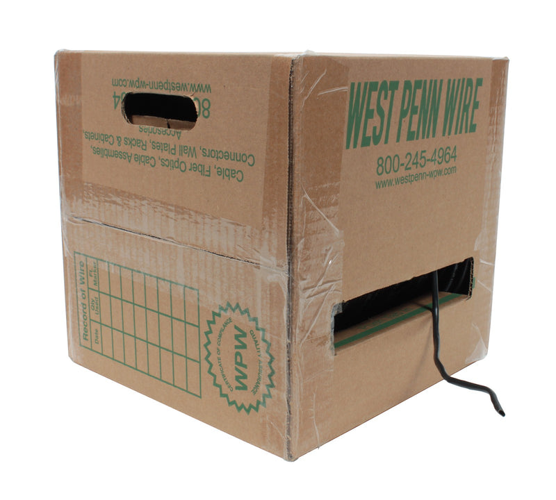 West Penn 4245 CAT5E UTP 4 Pair CMR Rated Black, 1000'