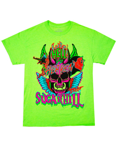 HEAVEN & HELL NEON GREEN TEE