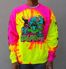 LIVING DEAD HOT PINK SWIRL CREWNECK