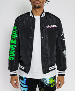 BLACK GAME OVER VARSITY JACKET