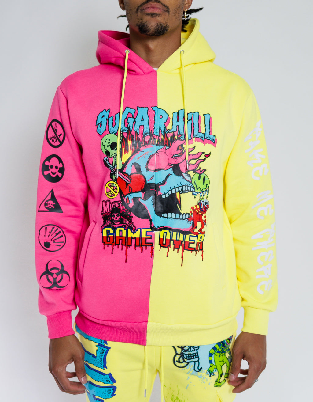 GAME OVER PINK/YELLOW SPLIT HOODIE