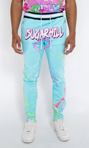 TRIPPY TRACK PANTS (BLUE/PINK)