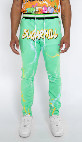 TRIPPY TRACK PANTS (GREEN/ORANGE)