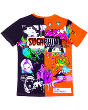 SPLIT ORANGE & BLACK PSYCHO TEE