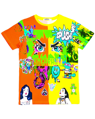 SPLIT ORANGE & YELLOW PSYCHO TEE