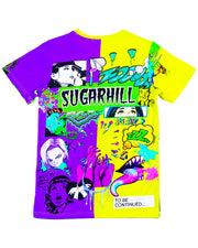 SPLIT PURPLE & YELLOW PSYCHO TEE