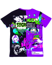 SPLIT PURPLE & BLACK PSYCHO TEE