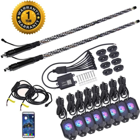 Second Generation RGB Dancing LED Whip Lights & Rock Light kit - LED Whip Lights & Rock Light kit