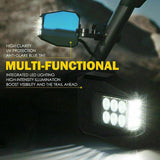 UTV Multi-Angle Side Mirrors LED Spot Lights and Anti-Glare Mirrors - Side Mirrors LED Spot Lights