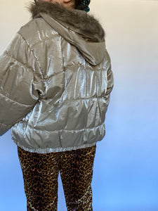90s Champagne Sparkly Puffer