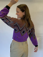 Load image into Gallery viewer, 80s diamond cropped sweater