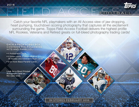 2/27 (SAT) - 10PM EST ~ 12 BOX CASE BREAK ~ 2015 TOPPS FIELD ACCESS FOOTBALL RANDOM.ORG BREAK ~ EACH SPOT PURCHASED BUYS 1 TEAM