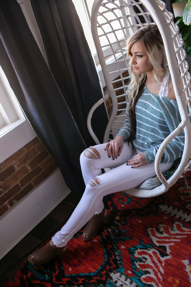 Longing For Your Mint Stripes Sweater