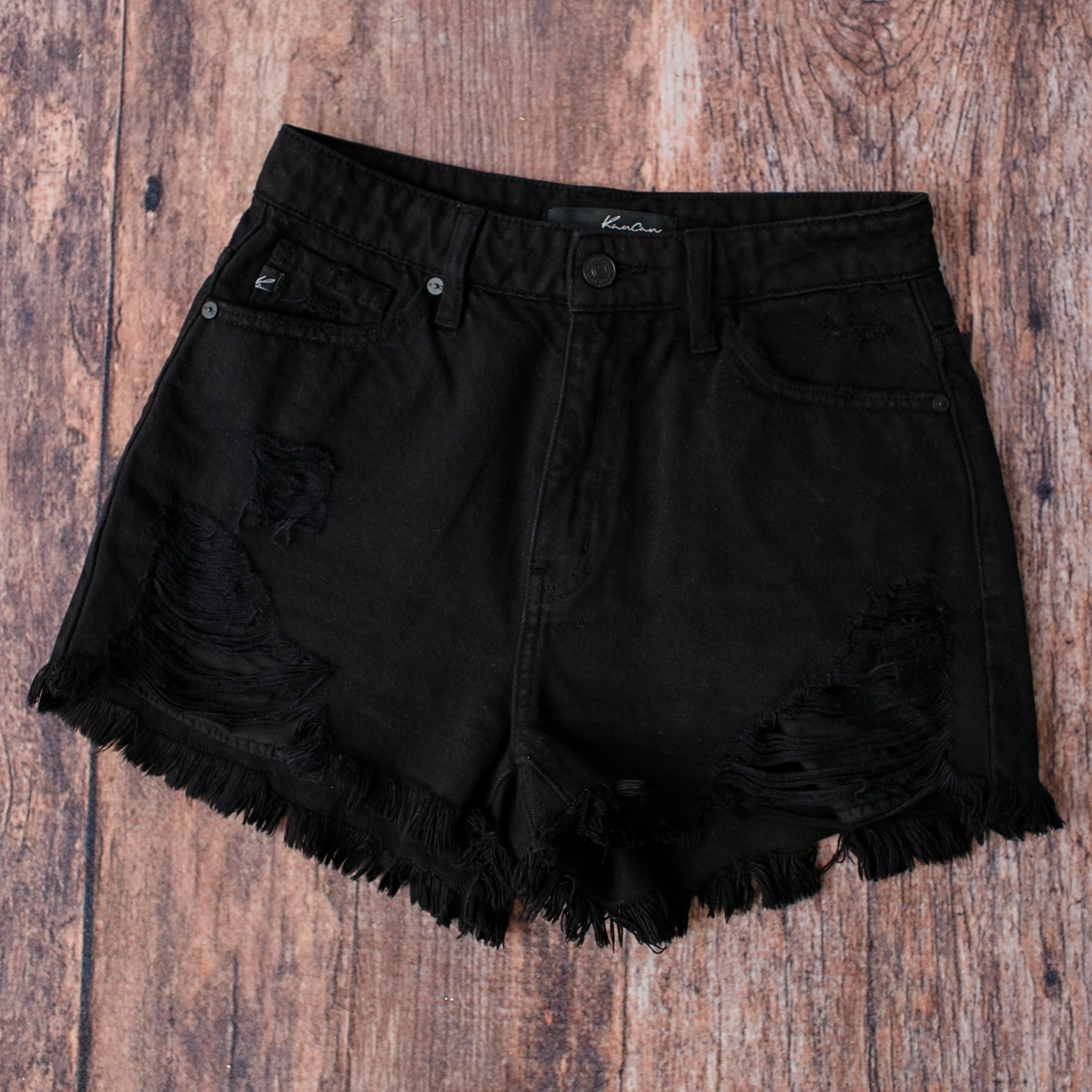 KanCan Black Distressed Short