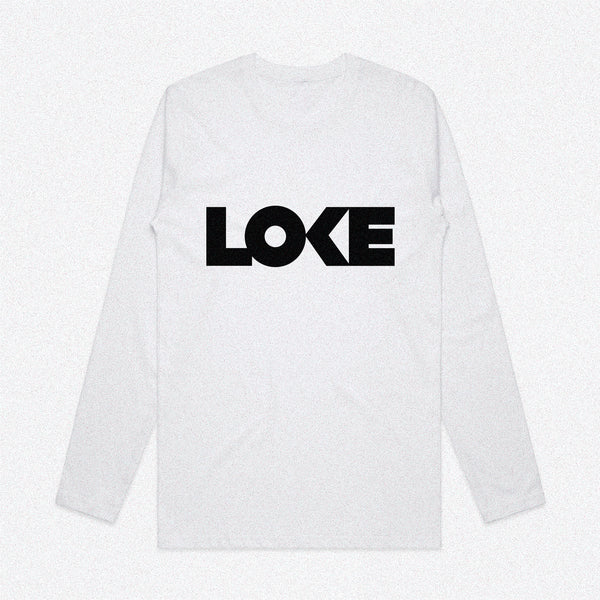 Loke Logo Long-Sleeve White Tee