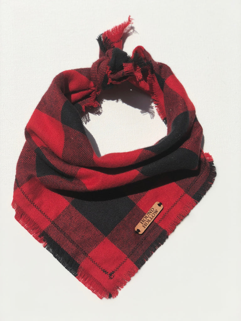 Red Buffalo Plaid Flannel Dog Bandana
