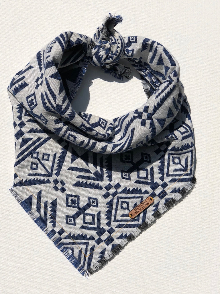 Reversible White and Blue Aztec Dog Bandana