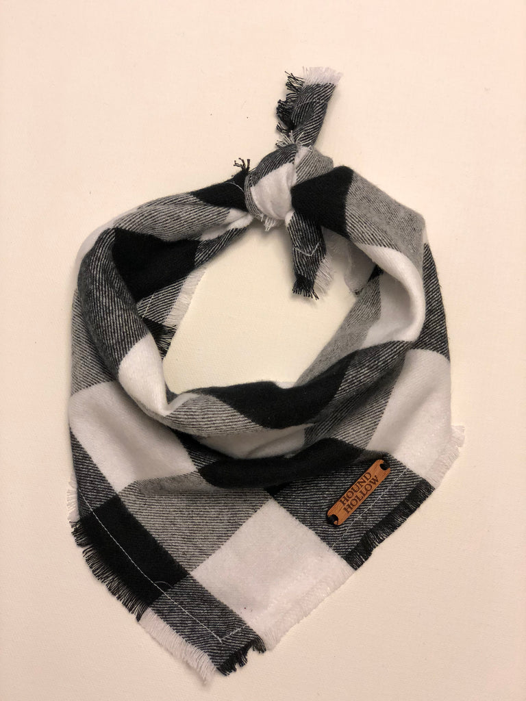 Black and White Buffalo Check Flannel Dog Bandana