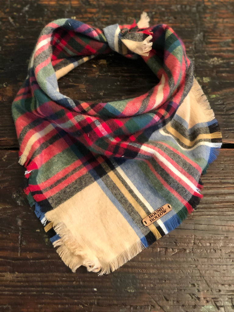 Camel Tartan Plaid Flannel Dog Bandana