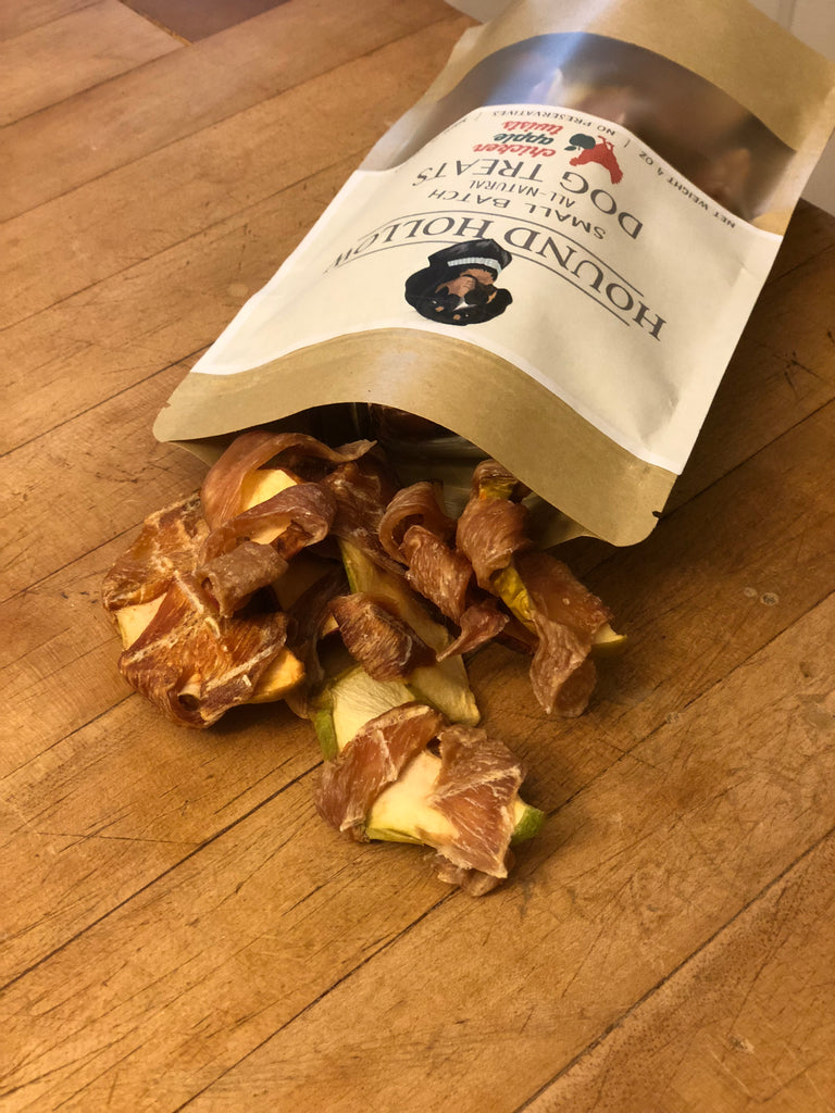 Homemade All-Natural Chicken Jerky and Apple Twists Dog Treats 8oz