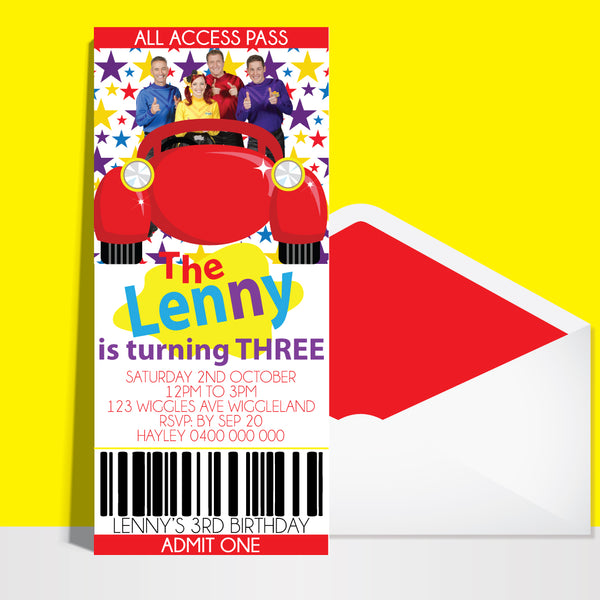 The Wiggles Ticket Birthday Invitation Affordabledigitals