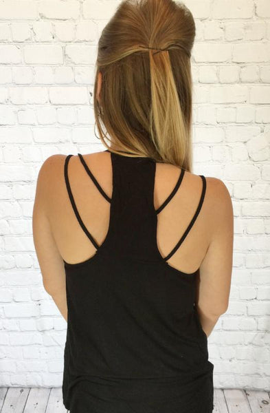 Black Strappy Back Tank