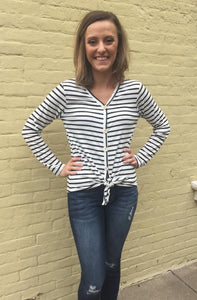 Striped Button Knot Top