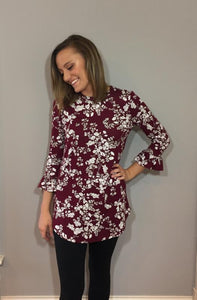 Burgundy Floral Bell Sleeve Top