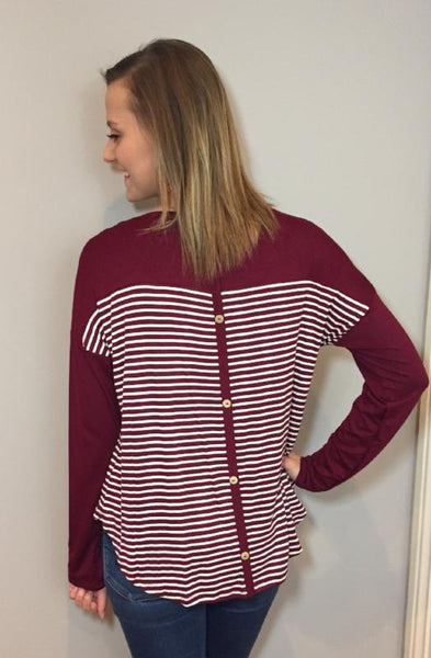 Burgundy Striped Button Top