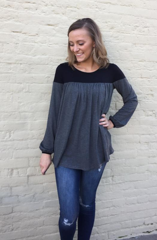 Charcoal Color Block Top