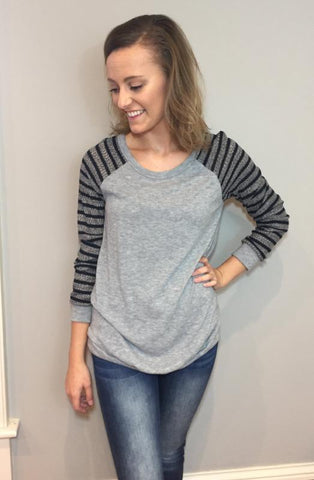 Evie Striped Sleeve Top