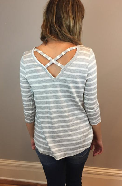 Striped Grey Criss Cross Top