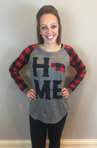 Red & Black Plaid Home Top