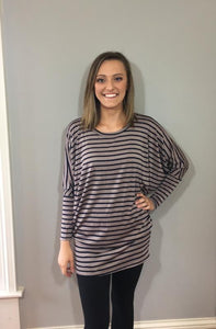 Mocha & Navy Striped Dolman Top