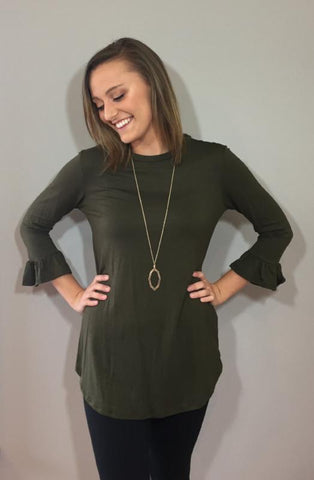 Olive Ruffle Top