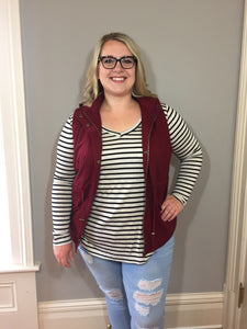 Oatmeal & Black Striped V-Neck Top